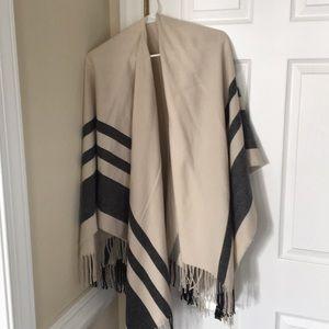 ASOS black, grey, white/ cream striped poncho